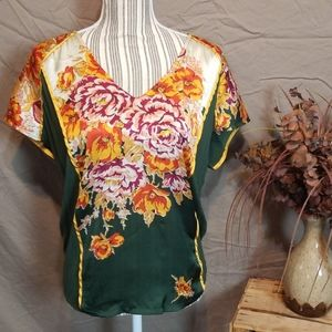 Tiny Forest Green and Floral Drawstring Blouse